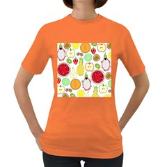 Mango Fruit Pieces Watermelon Dragon Passion Fruit Apple Strawberry Pineapple Melon Women s Dark T Shirt by Mariart