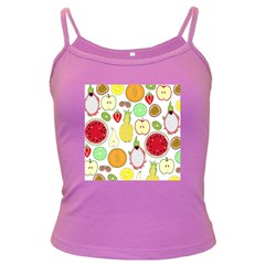 Mango Fruit Pieces Watermelon Dragon Passion Fruit Apple Strawberry Pineapple Melon Dark Spaghetti Tank by Mariart