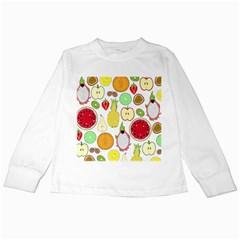 Mango Fruit Pieces Watermelon Dragon Passion Fruit Apple Strawberry Pineapple Melon Kids Long Sleeve T Shirts by Mariart