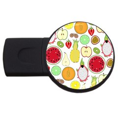 Mango Fruit Pieces Watermelon Dragon Passion Fruit Apple Strawberry Pineapple Melon Usb Flash Drive Round (4 Gb) by Mariart