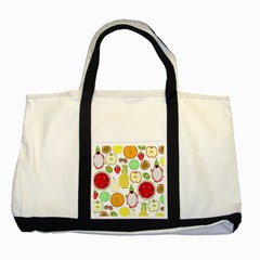 Mango Fruit Pieces Watermelon Dragon Passion Fruit Apple Strawberry Pineapple Melon Two Tone Tote Bag by Mariart
