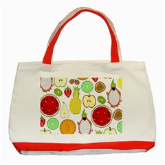 Mango Fruit Pieces Watermelon Dragon Passion Fruit Apple Strawberry Pineapple Melon Classic Tote Bag (red) by Mariart