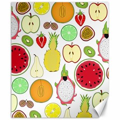 Mango Fruit Pieces Watermelon Dragon Passion Fruit Apple Strawberry Pineapple Melon Canvas 8  X 10  by Mariart