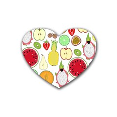 Mango Fruit Pieces Watermelon Dragon Passion Fruit Apple Strawberry Pineapple Melon Heart Coaster (4 Pack)  by Mariart