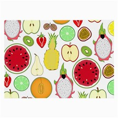 Mango Fruit Pieces Watermelon Dragon Passion Fruit Apple Strawberry Pineapple Melon Large Glasses Cloth (2 Side) by Mariart