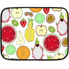 Mango Fruit Pieces Watermelon Dragon Passion Fruit Apple Strawberry Pineapple Melon Fleece Blanket (mini) by Mariart