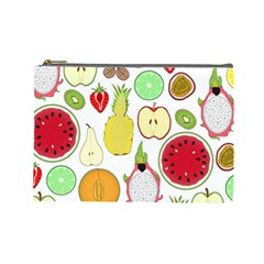 Mango Fruit Pieces Watermelon Dragon Passion Fruit Apple Strawberry Pineapple Melon Cosmetic Bag (large)  by Mariart