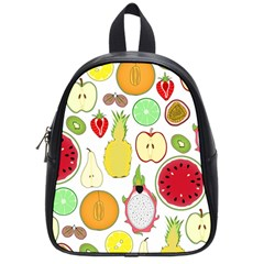 Mango Fruit Pieces Watermelon Dragon Passion Fruit Apple Strawberry Pineapple Melon School Bag (small) by Mariart