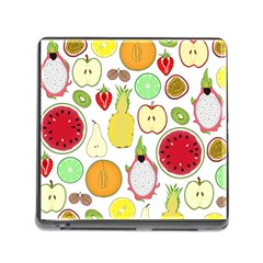 Mango Fruit Pieces Watermelon Dragon Passion Fruit Apple Strawberry Pineapple Melon Memory Card Reader (square) by Mariart