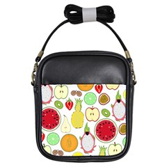 Mango Fruit Pieces Watermelon Dragon Passion Fruit Apple Strawberry Pineapple Melon Girls Sling Bags by Mariart