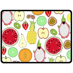 Mango Fruit Pieces Watermelon Dragon Passion Fruit Apple Strawberry Pineapple Melon Fleece Blanket (large)  by Mariart