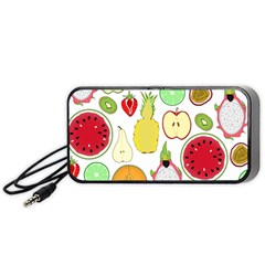 Mango Fruit Pieces Watermelon Dragon Passion Fruit Apple Strawberry Pineapple Melon Portable Speaker (black) by Mariart