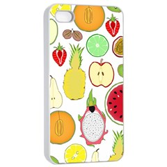 Mango Fruit Pieces Watermelon Dragon Passion Fruit Apple Strawberry Pineapple Melon Apple Iphone 4/4s Seamless Case (white) by Mariart