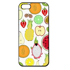 Mango Fruit Pieces Watermelon Dragon Passion Fruit Apple Strawberry Pineapple Melon Apple Iphone 5 Seamless Case (black) by Mariart