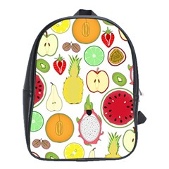 Mango Fruit Pieces Watermelon Dragon Passion Fruit Apple Strawberry Pineapple Melon School Bag (xl) by Mariart