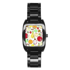 Mango Fruit Pieces Watermelon Dragon Passion Fruit Apple Strawberry Pineapple Melon Stainless Steel Barrel Watch by Mariart