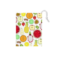 Mango Fruit Pieces Watermelon Dragon Passion Fruit Apple Strawberry Pineapple Melon Drawstring Pouches (small)  by Mariart