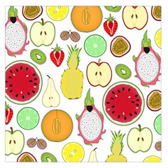 Mango Fruit Pieces Watermelon Dragon Passion Fruit Apple Strawberry Pineapple Melon Large Satin Scarf (square) by Mariart