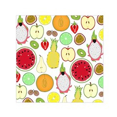 Mango Fruit Pieces Watermelon Dragon Passion Fruit Apple Strawberry Pineapple Melon Small Satin Scarf (square) by Mariart
