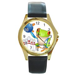 Tree Frog Bowler Round Gold Metal Watch by crcustomgifts