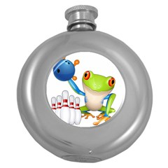 Tree Frog Bowler Round Hip Flask (5 Oz) by crcustomgifts