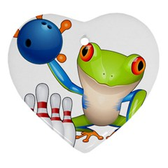Tree Frog Bowler Heart Ornament (two Sides) by crcustomgifts