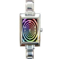 Hypnotic Circle Rainbow Rectangle Italian Charm Watch by Mariart