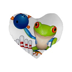 Tree Frog Bowler Standard 16  Premium Flano Heart Shape Cushions by crcustomgifts