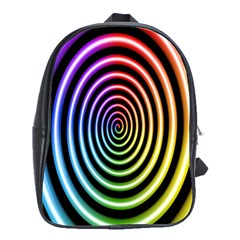 Hypnotic Circle Rainbow School Bag (large) by Mariart