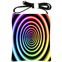 Hypnotic Circle Rainbow Shoulder Sling Bags by Mariart