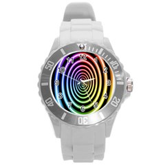 Hypnotic Circle Rainbow Round Plastic Sport Watch (l) by Mariart