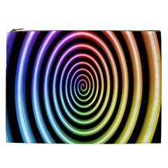 Hypnotic Circle Rainbow Cosmetic Bag (xxl)  by Mariart