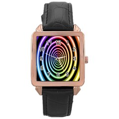 Hypnotic Circle Rainbow Rose Gold Leather Watch  by Mariart