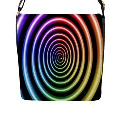 Hypnotic Circle Rainbow Flap Messenger Bag (l)  by Mariart