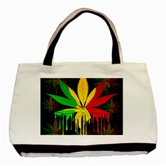 Marijuana Cannabis Rainbow Love Green Yellow Red Black Basic Tote Bag (two Sides) by Mariart