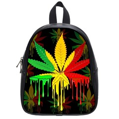 Marijuana Cannabis Rainbow Love Green Yellow Red Black School Bag (small) by Mariart