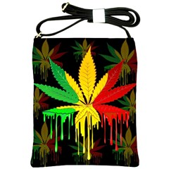 Marijuana Cannabis Rainbow Love Green Yellow Red Black Shoulder Sling Bags by Mariart