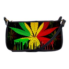 Marijuana Cannabis Rainbow Love Green Yellow Red Black Shoulder Clutch Bags by Mariart