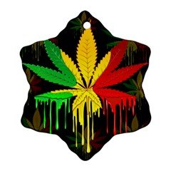 Marijuana Cannabis Rainbow Love Green Yellow Red Black Ornament (snowflake) by Mariart