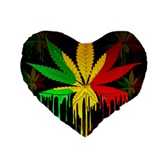 Marijuana Cannabis Rainbow Love Green Yellow Red Black Standard 16  Premium Heart Shape Cushions by Mariart