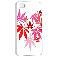 Marijuana Cannabis Rainbow Pink Love Heart Apple Iphone 4/4s Seamless Case (white) by Mariart