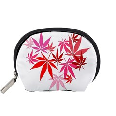 Marijuana Cannabis Rainbow Pink Love Heart Accessory Pouches (small)  by Mariart