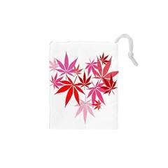Marijuana Cannabis Rainbow Pink Love Heart Drawstring Pouches (xs)  by Mariart