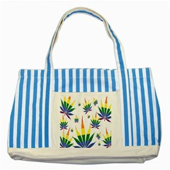 Marijuana Cannabis Rainbow Love Green Yellow Red White Leaf Striped Blue Tote Bag by Mariart