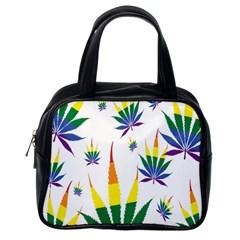 Marijuana Cannabis Rainbow Love Green Yellow Red White Leaf Classic Handbags (one Side) by Mariart