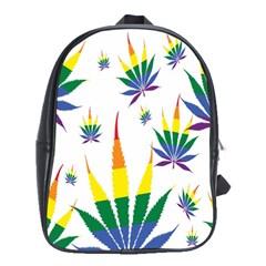 Marijuana Cannabis Rainbow Love Green Yellow Red White Leaf School Bag (large) by Mariart