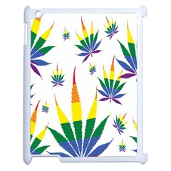 Marijuana Cannabis Rainbow Love Green Yellow Red White Leaf Apple Ipad 2 Case (white) by Mariart
