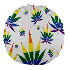 Marijuana Cannabis Rainbow Love Green Yellow Red White Leaf Large 18  Premium Round Cushions by Mariart