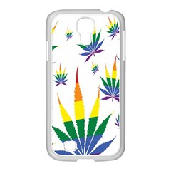 Marijuana Cannabis Rainbow Love Green Yellow Red White Leaf Samsung Galaxy S4 I9500/ I9505 Case (white) by Mariart