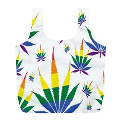 Marijuana Cannabis Rainbow Love Green Yellow Red White Leaf Full Print Recycle Bags (l)  by Mariart